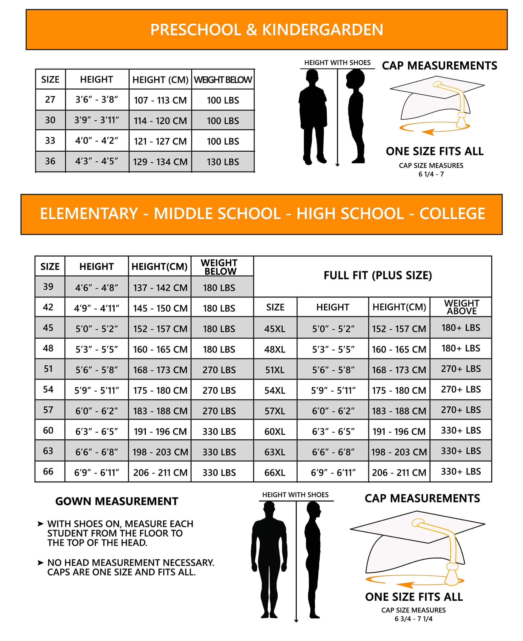 graduation super store evolve size chart